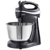 VonShef 2 in 1 Twin Hand and Stand Mixer, Black, 300W with 5 Speeds & Turbo Function includes 3.5L Bowl, 2x Beaters, 2x Dough Hooks & Whisk
